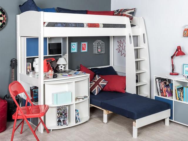 حجرة نوم أطفال بنات , سرير طابقين و, مكتب , لون بترولى مع ابيض واحمر