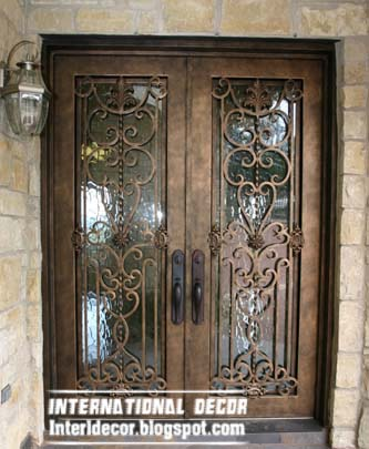 wrought iron glass door insert