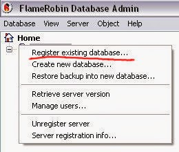 FlameRobin - Firebird database registration