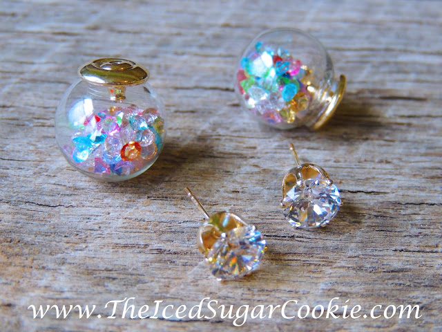 Crystal Filled Glass Ball Earrings- Unique, Cute, Trendy Jewelry For Girls