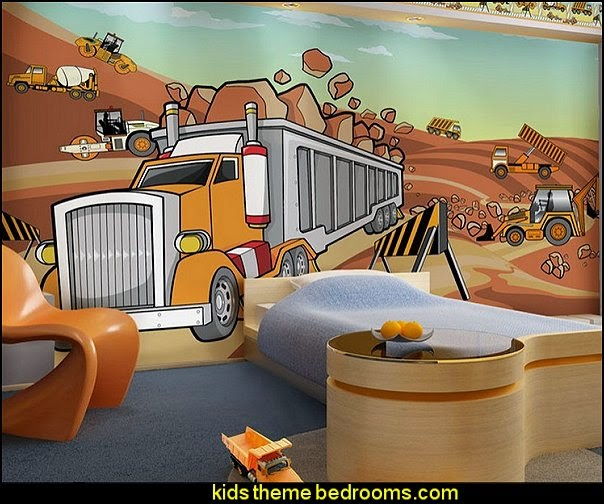 Construction Kid Orange Trucks Removable Full Wall Mural