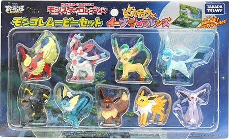 Glaceon figure Takara Tomy MC Pikachu & Eevee's friends movie 9pcs set