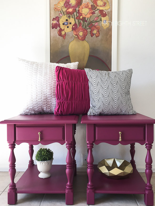 pink bed side tables, pink nightstands, painted pink furniture, refinished nightstands, pink furniture ideas