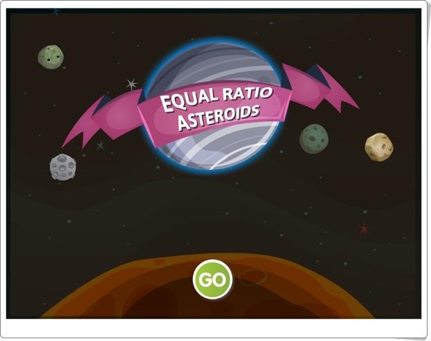 """""""Asteroides de proporciones iguales"""" (Juego de Fracciones Equivalentes)"""