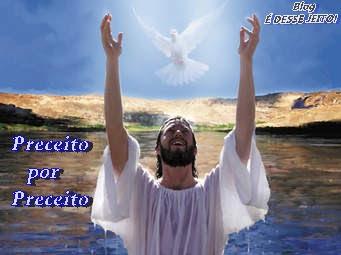 Imagem de JESUS CRISTO dentro do rio e descendo sobre ELE, o ESPÍRITO SANTO na forma de pomba