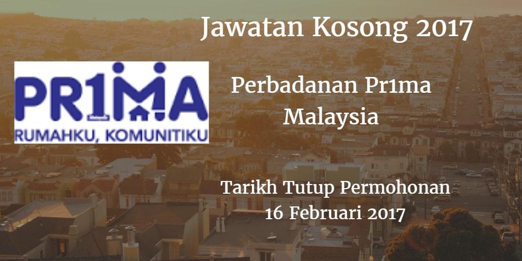 Jawatan Kosong Perbadanan Pr1ma Malaysia 16 Februari 2017