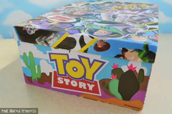 back of shoe box with cactus desert scene and Toy Story Disney Pixar branding