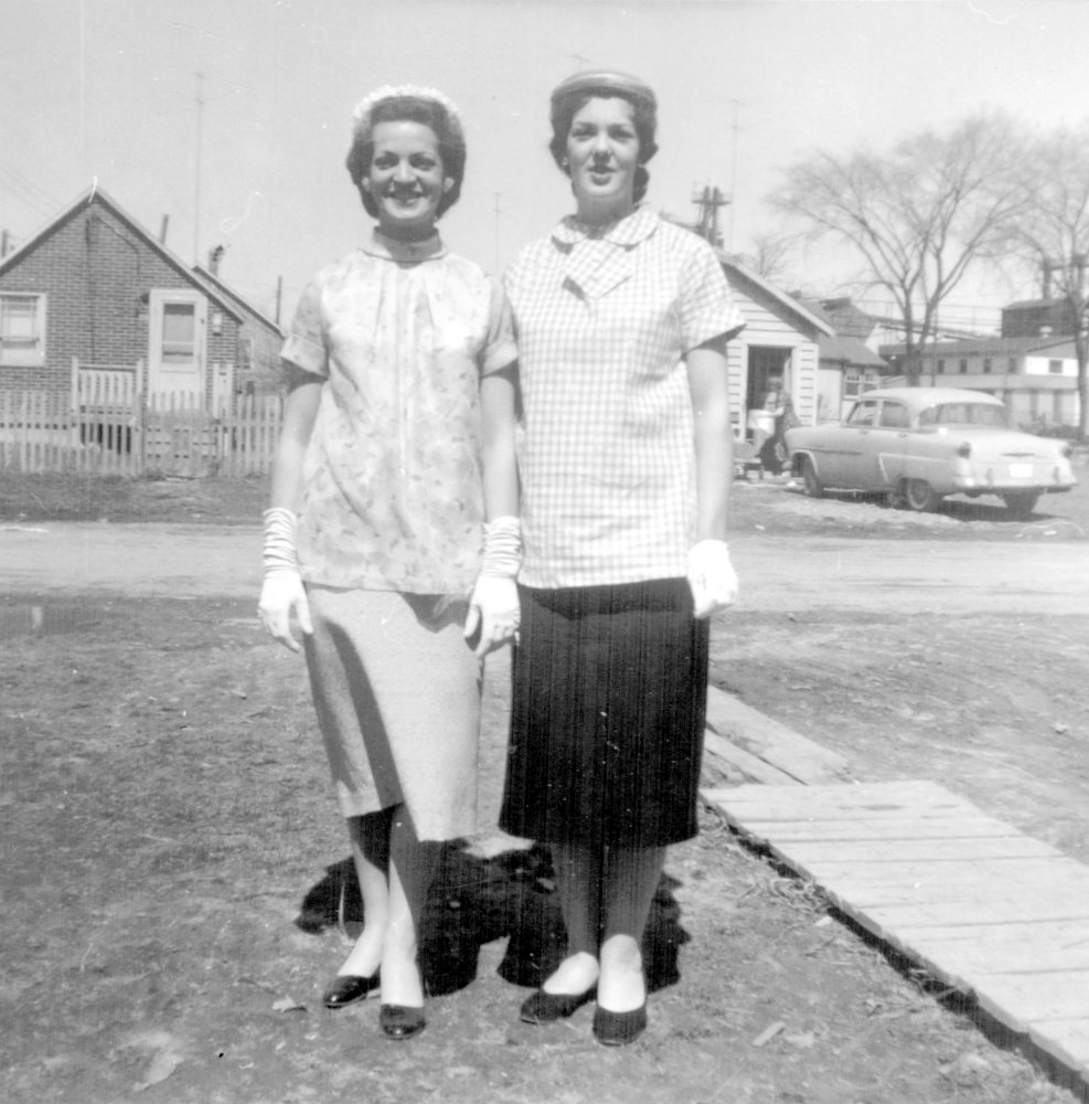 Sisters Jacqueline and Normande Easter 1958