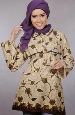 Desain baju batik muslim modern terbaru trendy