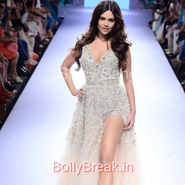 esha gupta walks the ramp for arpita mehta esha gupta , arpita mehta ,, Esha Gupta in Arpita Mehta Dress - Lakme Fashion Week 2015