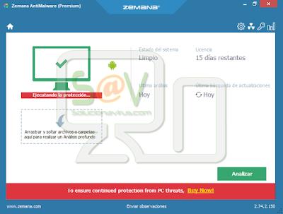 Zemana AntiMalware, haremos clic en el botón Escanear