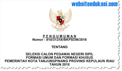 Pengumuman Pendaftaran CPNS 2018 Kota Tanjungpinang