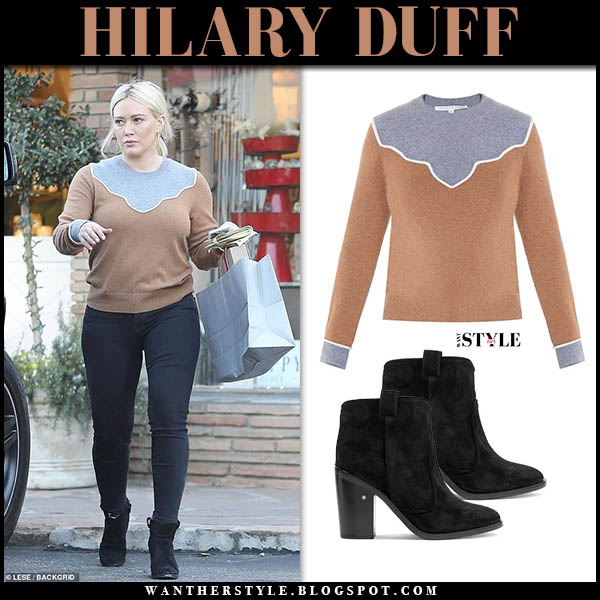 Hilary Duff in camel and grey veronica beard sweater, skinny jeans and black suede laurence dacade ankle boots hollywood street fashion december 24
