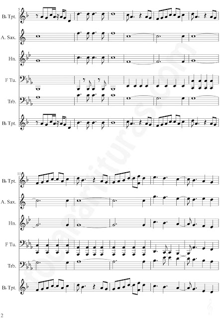 2 YMCASheet Music for trumpet, alto saxophone, horn, tube, trombone by Village Music Scores.JPG