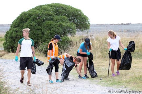 L-R: Archy Argo, Puketapu; Olivia Dawson, Napier, Georgia Creagh, Puketapu, Edin Harvey, Napier, Hazel Mannering, Clive, (Napier Girls' High School Enviro group and a friend) - About 70 people volunteered for a Big Awatoto Beach Clean-up, just south of Napier, a Seaweek activity supported by Hawke's Bay Regional Council. photograph