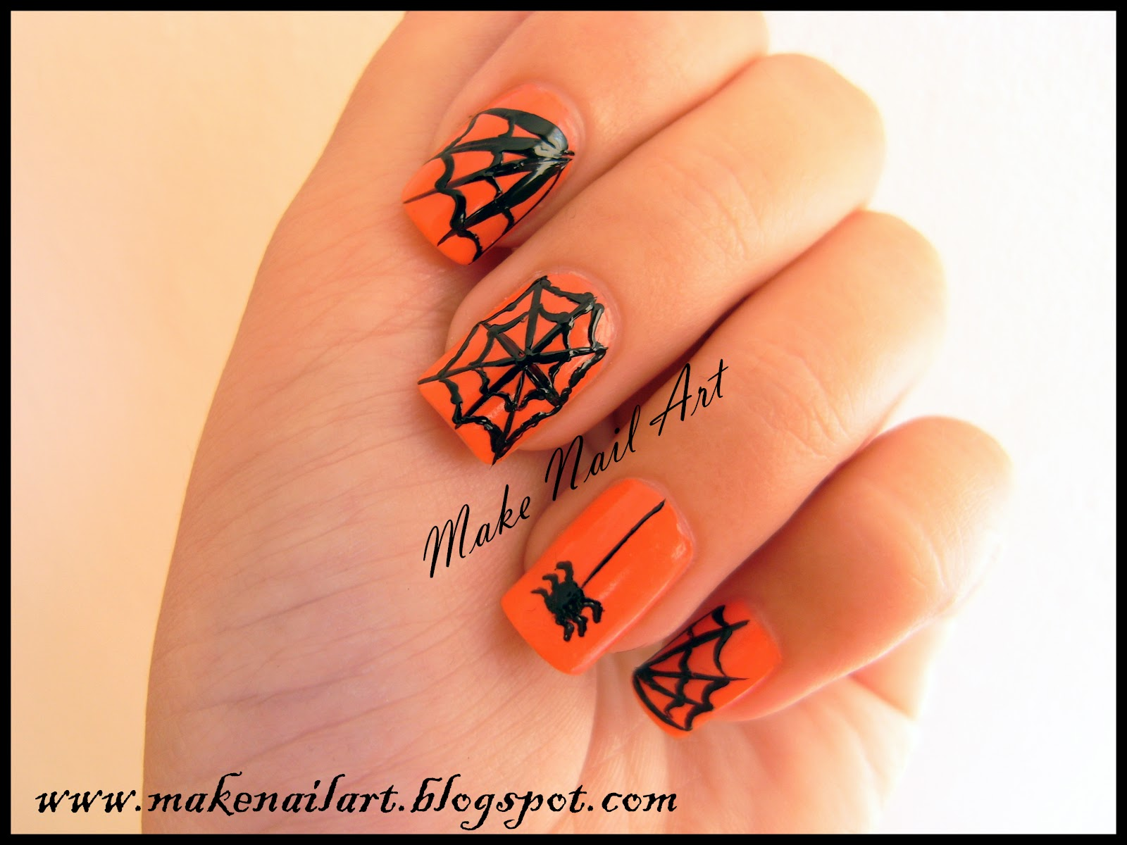 Make Nail Art: Spider Web Nail Art Tutorial For Halloween