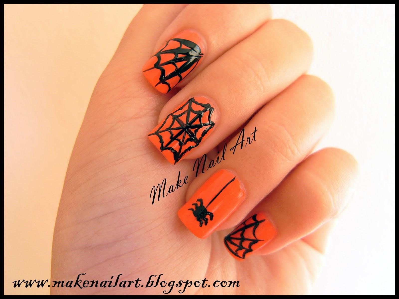 Make Nail Art: Spider Web Nail Art Tutorial For Halloween