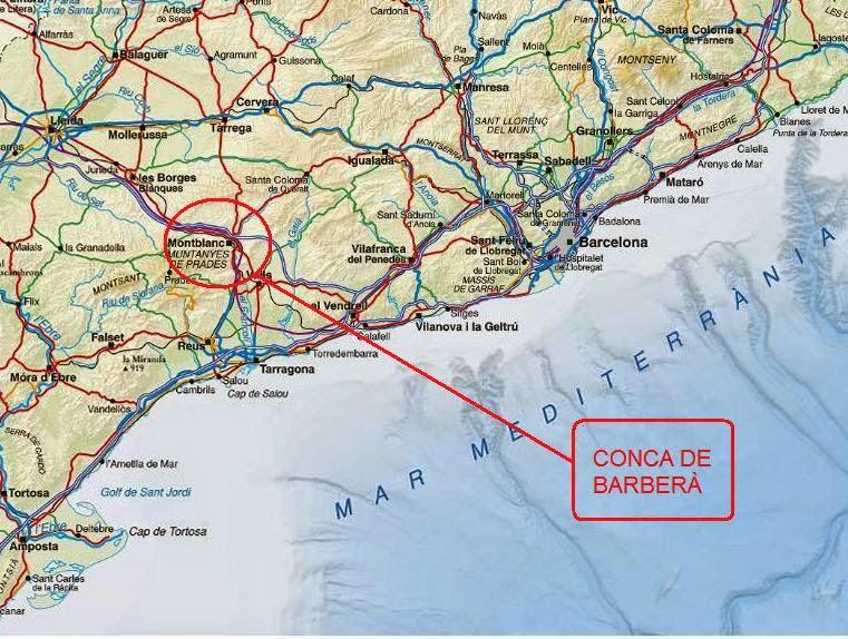 Mapa de la Conca de Barberà Tarragona