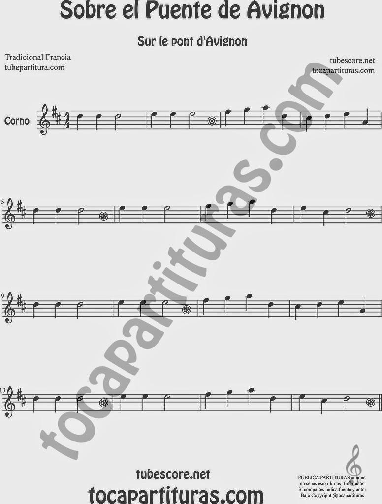 Sobre el Puente de Avignon Partitura de Trompa y Corno Francés en Mi bemol Sheet Music for French Horn Music Scores Sur le Pont d'Avignon Popular