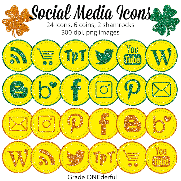 Glittery and gorgeous social media icons. These icons are perfect for St. Patrick's Day and include some coins and shamrock clipart! #socialmediaicons #stpatricksday #glittericons #shamrockclipart #stpatricksdayclipart