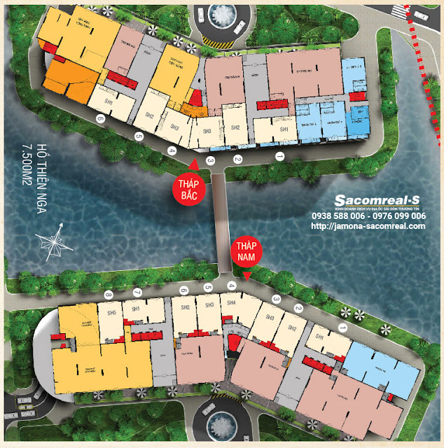 Mặt bằng shop house thương mại Jamona Apartment - Tầng 1