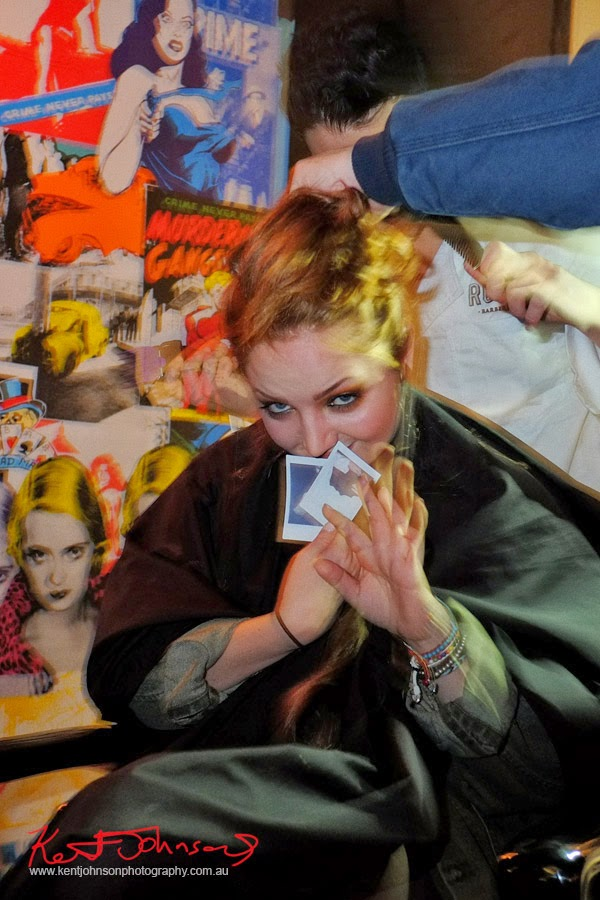In the Barbers Chair with polaroids, Rudys, Lynx #lynxman relaunch party at WIP BAR Sydney