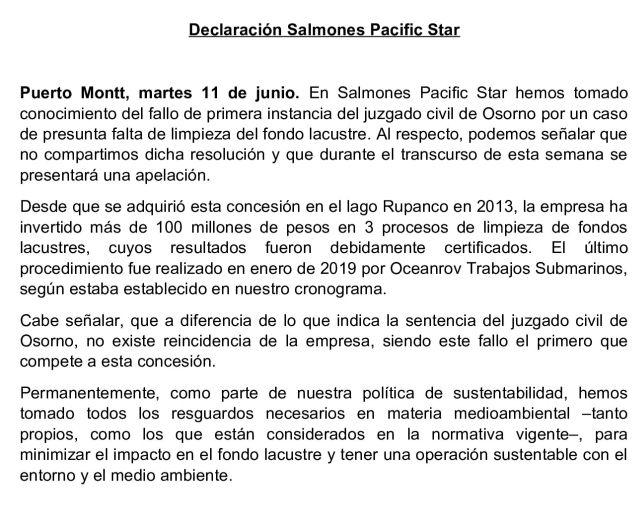 Declaración Salmones Pacific Star