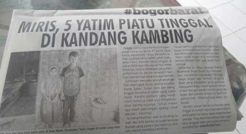 Viral anak yatim tidur di kandang kambing trending topik Twitter hashtag #ironiKabBogor