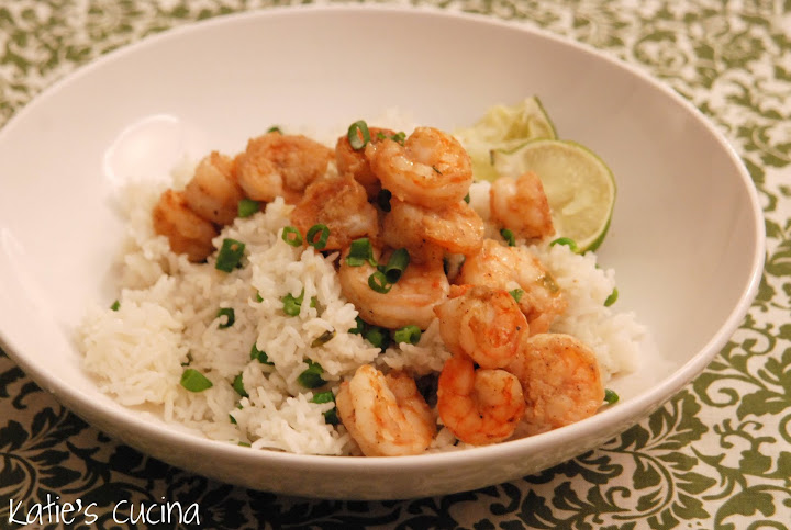 Spiced Shrimp with Ginger Rice and Peas - Katie\'s Cucina