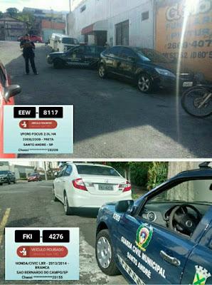 Com informações do monitoramento, GCM de Santo André localiza veículos produto de roubo na região central