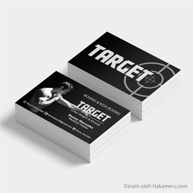 Desain kartu nama untuk personal trainer boxing dan kick boxing