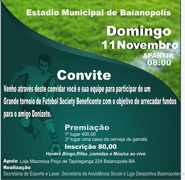 Torneio de Futebol Society Beneficente será realizado neste domingo em Baianópolis