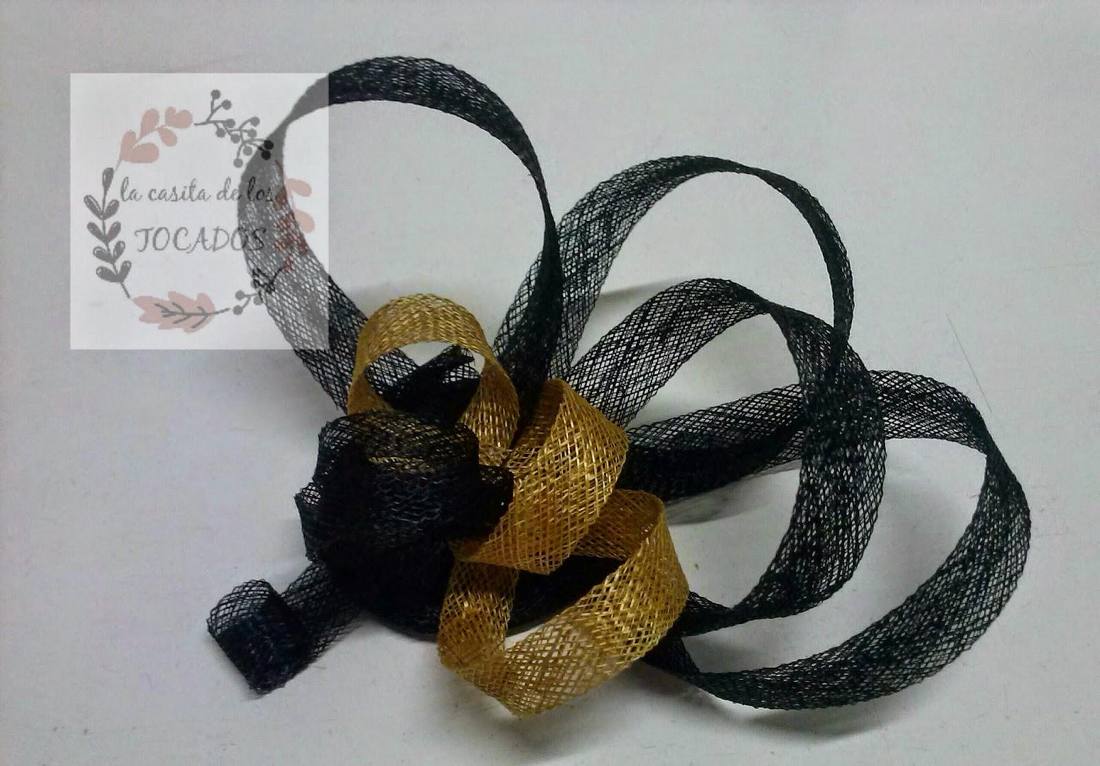 tocado para boda a buen precio y sencillo, en negro y dorado