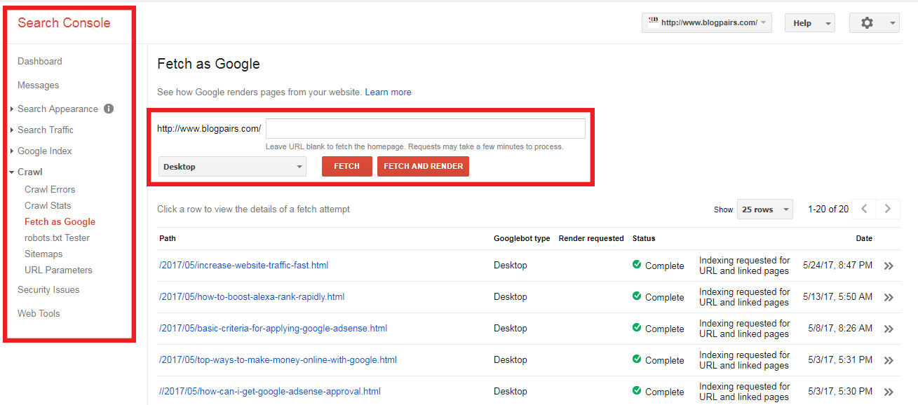 Google webmaster tools to increase traffic to website