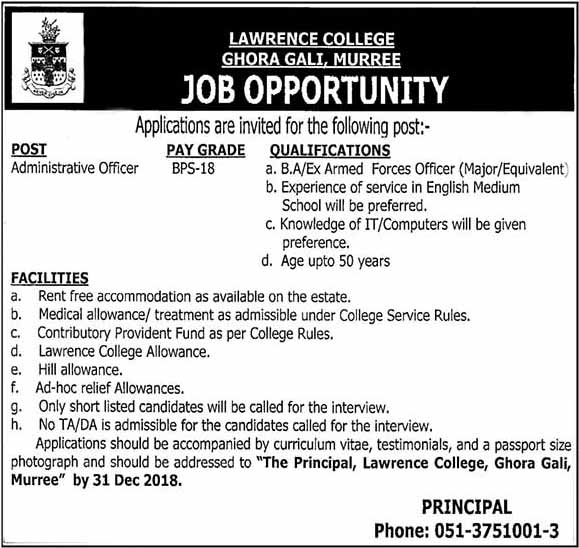 Lawrence College Jobs in Murree Nov 2018