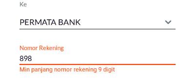 """Nah saat mengisi nomor rekening kalian isikan angka """"898"""" sebelum no.rek Permata Bank tadi. Jadi 898+no.rek Permata Bank"""