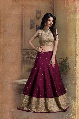 Picture of Beautiful Indian Modle In Wine And Beige Color Lehenga Choli.