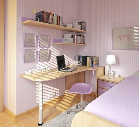 Dormitorio lila con poco espacio by for Dormitorios con poco espacio
