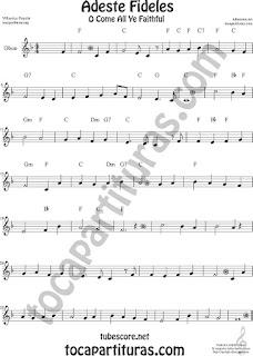 Adeste Fideles,Villancico,  Partitura de Flauta, Violín, Saxofón Alto, Trompeta, Viola, Oboe, Clarinete, Saxo Tenor, Soprano Sax, Trombón, Fliscorno, chelo, Fagot, Barítono, Bombardino, Trompa o corno, Tuba