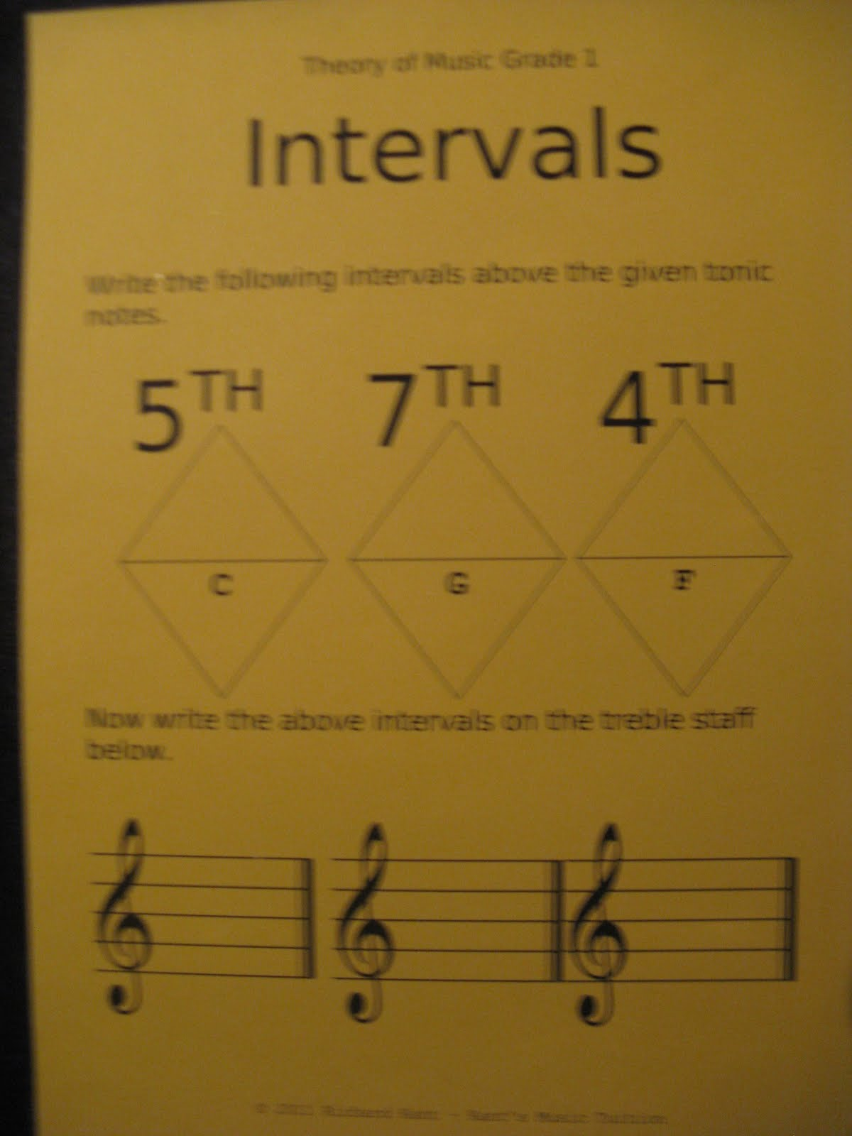 Piano Practice Tips Intervals Worksheet Ameb Theory Of