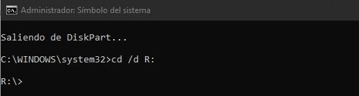 Use el comando exit para salir del diskpart y entre a la unidad R: