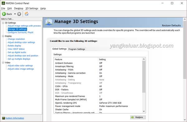Cara Setting NVIDIA Control Panel