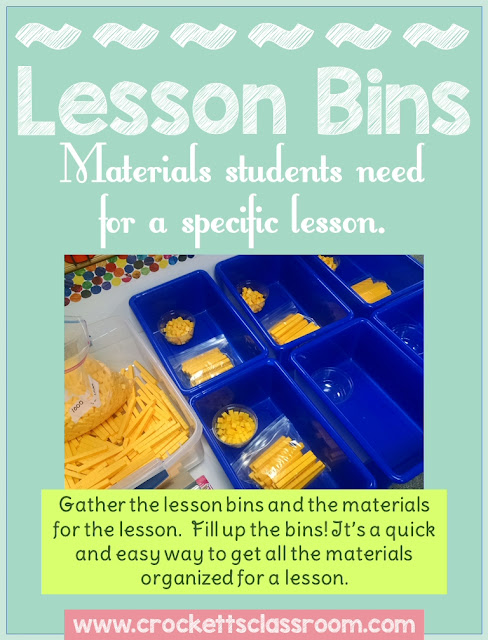 Prepping materials for a lesson can be simple and organized with these bins.  Put everything your students will need in these bins and then pass them out during the lesson.  Saves a lot of class time.