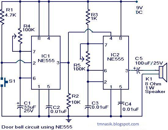 Wiring Pre Circuit diagram Door bell circuit using NE555