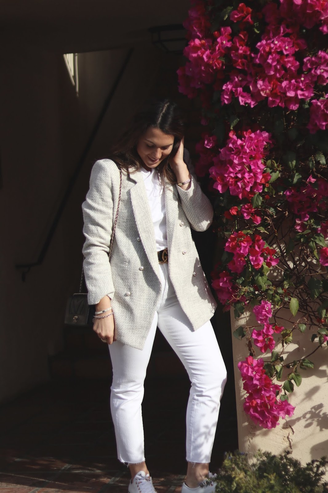 Le Chateau pearl blazer vacation outfit white jeans aleesha harris indian wells vacation