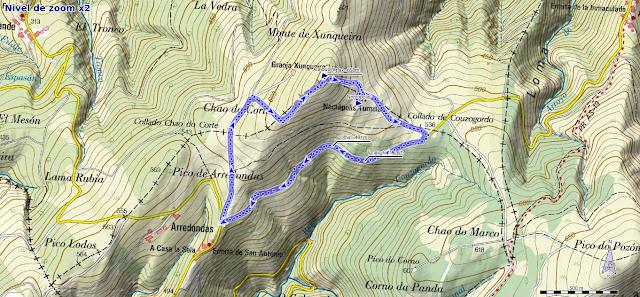 Mapa de la ruta al Xunqueira desde Arredondas