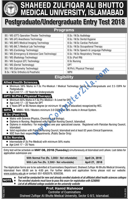 Shaheed Zulfiqar Ali Bhutto University Admissions Spring 2018
