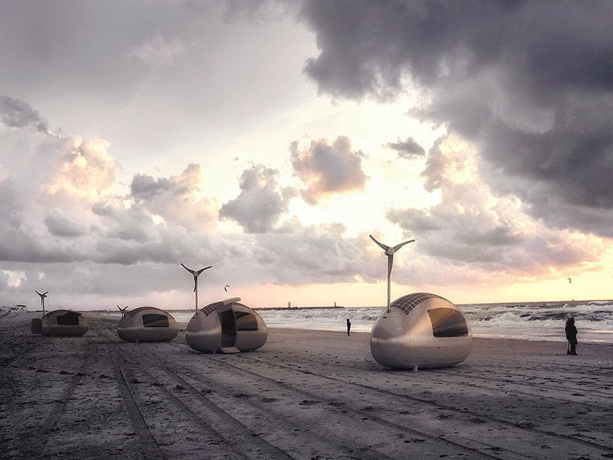 Ecocapsules fit in a sea-container or can be towed on a trailer - Tiny Wind & Solar Powered Home Lets You Live Off The Grid Anywhere In The World