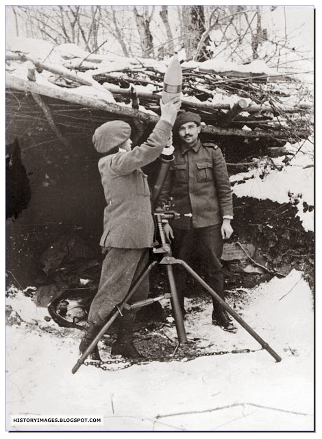 Romanian soldiers fire  mortar somewhere  Caucasus April 30 1943