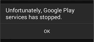 sayangnya layanan google play telah berhenti